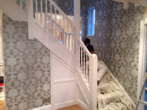 New wall paper by stairs projects