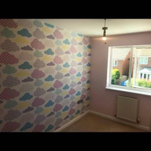 Kid's room with fresh wallpaper