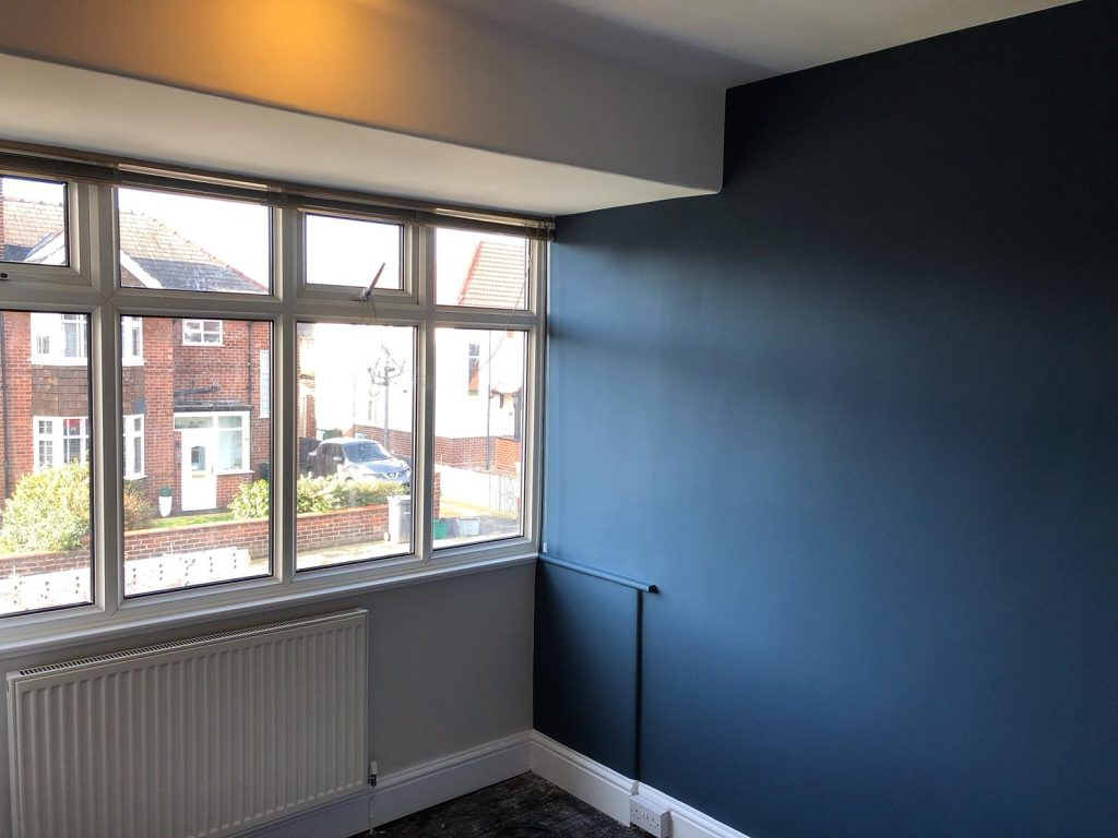 The blue feature wall was part of the makeover