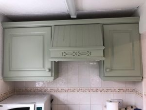 Kitchen cupboards after being redecorated.