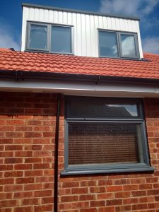 Picture of windows after being painted grey