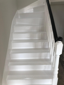 Photo of stairs after being painted.